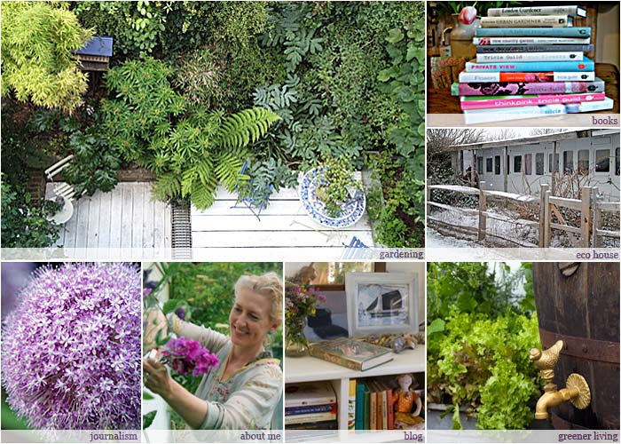 Elspeth Thompson writes and broadcasts on gardening and greener living. This collage of seven pictures shows aspects of her work.